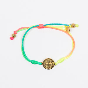 New Day Serenity Rainbow Blessing Bracelet Gold Tone Benedictine Medal