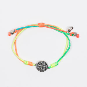 New Day Serenity Rainbow Blessing Bracelet Silver Tone Benedictine Medal