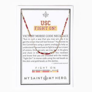 USC Fight On! Morse Code Necklace on Inspirational Card