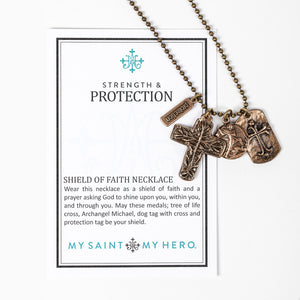 Strength & Protection Shield of Faith Necklace with Inspirational Card