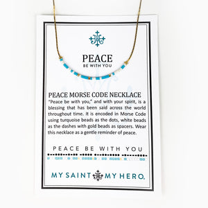 Peace Be with You Morse Code Necklace on Card