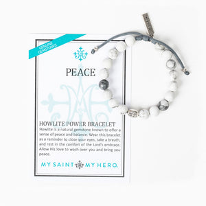 Peace Howlite Power Bracelet with inspirational card