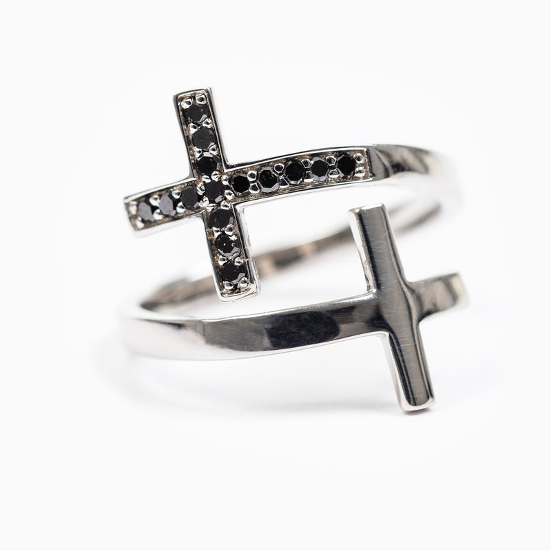 Pillar of Faith Ring - Black Diamonds