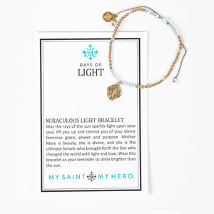 Rays of Light Miraculous Mary Bracelet - Gold Filled with an Inspirational Card