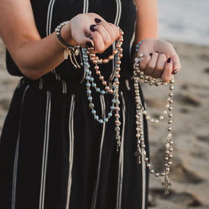 MY SAINT MY HERO Crystal Pearl Rosary