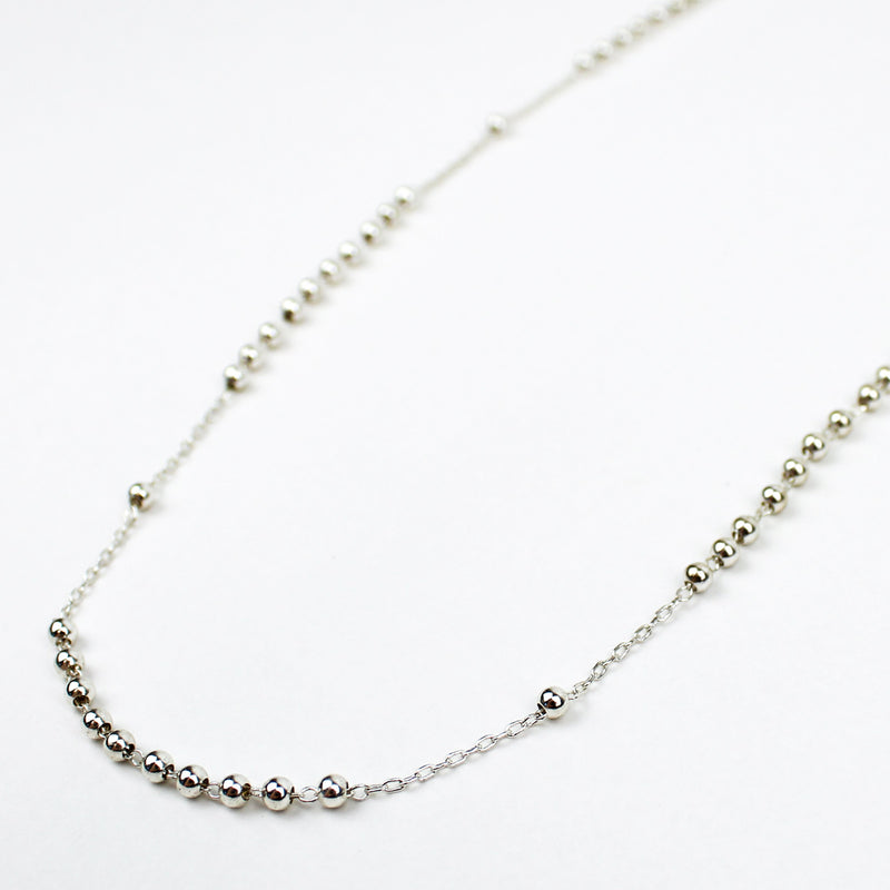 Rosary Necklace Silver Stainless Steel Chain and Beads