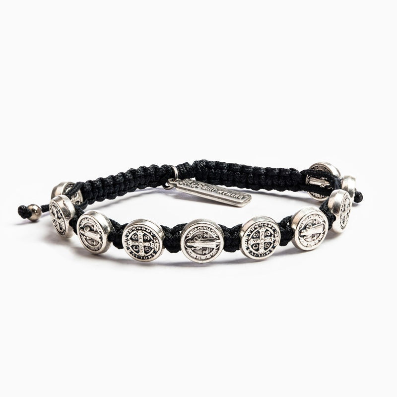 Benedictine Blessing Bracelet for Him with Saint Benedict silver medals of protection and black woven cording