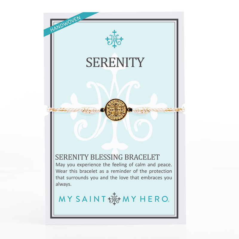 Serenity Blessing Bracelet with gold tone Benedictine Medal of protection on inspirational card with the Serenity Prayer