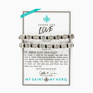 Share the Love St. Amos Love Bracelet Set. Two StAmos Bracelets designed by My Saint My Hero and Caitlin and John Stamos. Wear One. Share One.