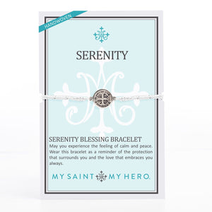 Silver tone and silver woven cording Benedictine Serenity Blessing Bracelet on inspirational card with the Serenity Prayer