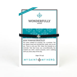 Family Virtues Wonderfully Made Kids' Purpose Bracelet on inspirational card