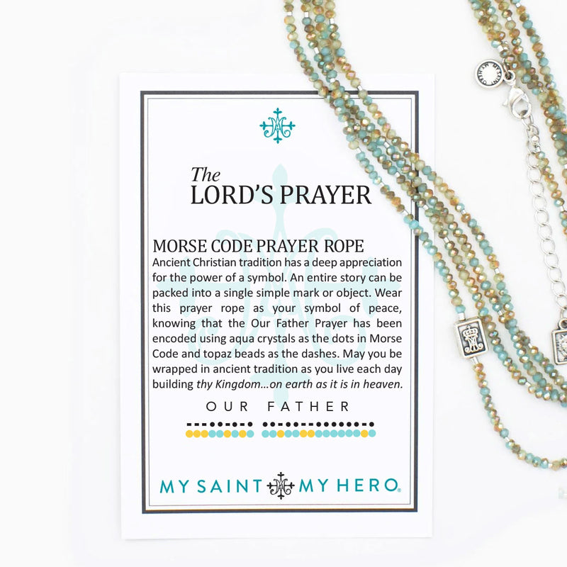 "The Lord's Prayer Morse Code Prayer Rope -Aqua and topaz 3mm crystals, silver dipped bugle beads, two scapular medals, 52"" rope with a 2"" extender. The Lord's Prayer Morse Code Prayer Rope can be worn as a single or double strand necklace or as a wrap bra"