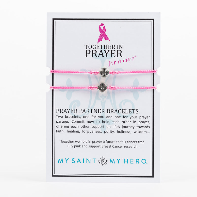 Together in Prayer for a Cure Prayer Partner Bracelets Giving Back to Breast Cancer Research Pink Woven Bracelets with silver tone cross on inspirational card
