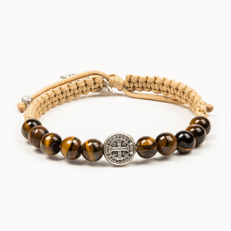 WAKE UP AND PRAY  Tiger's Eye | Courage with Benedictine Medal of Protection in silver tone