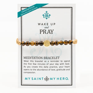 Wake Up and Pray Meditation Bracelet - Tiger's Eye