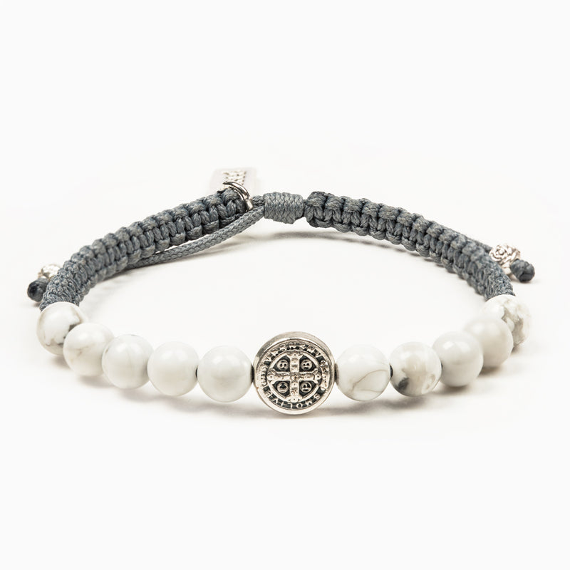 Wake Up and Pray Meditation Bracelet - White Howlite