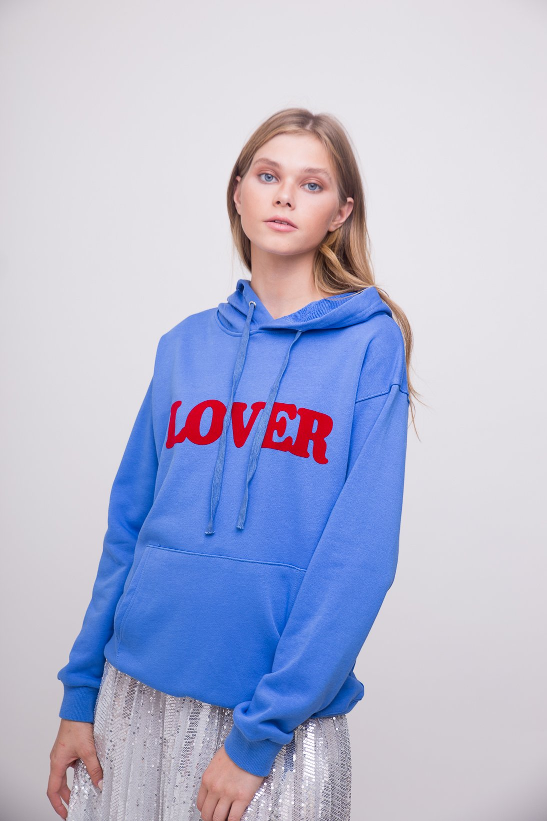 "cozy cute blue ""lover"" hooded sweatshirt"