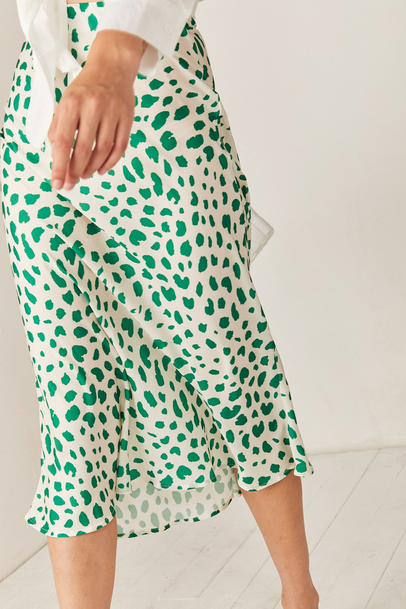 White & Green Satin Skirt