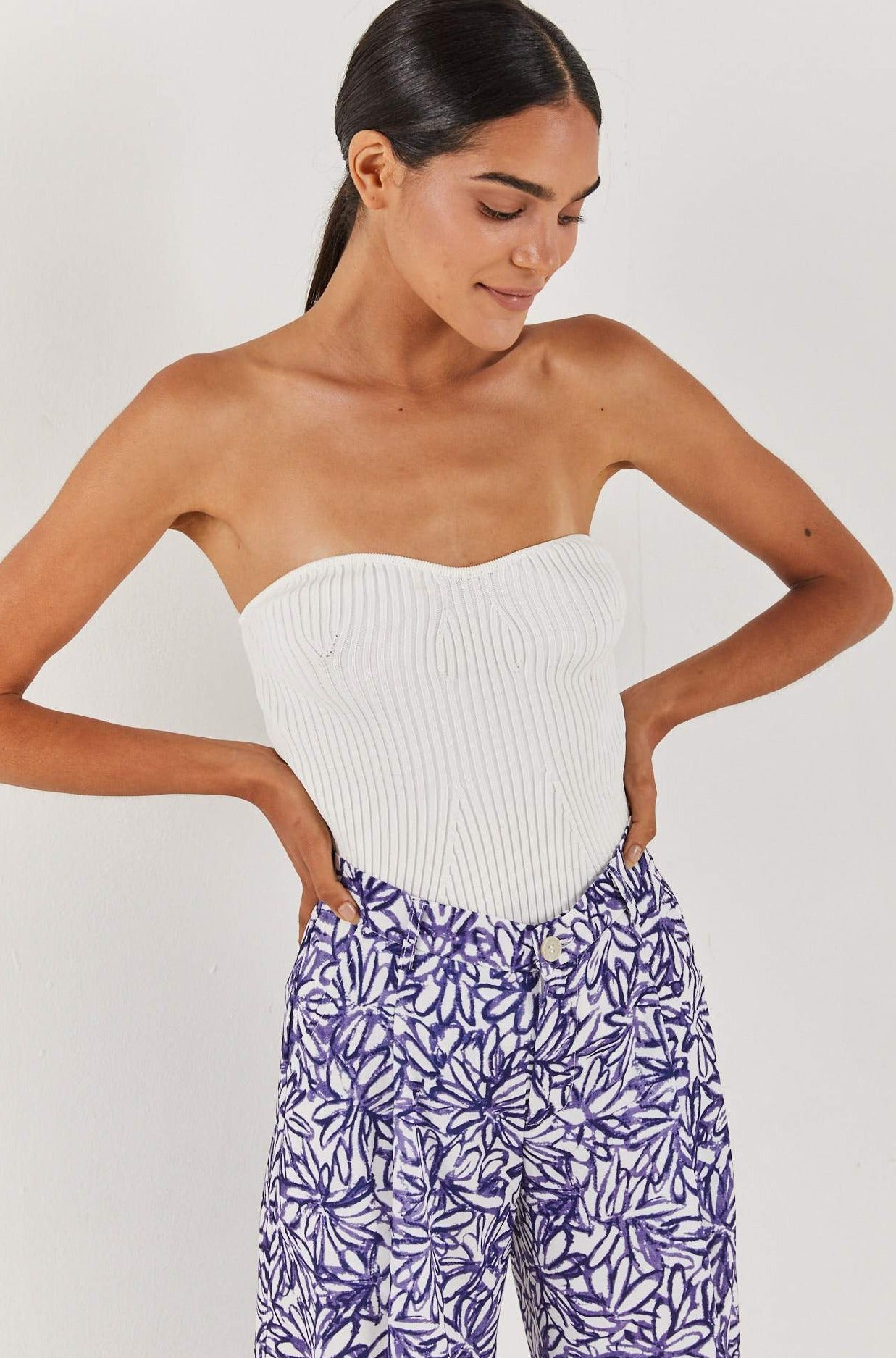 Strapless Knit - White