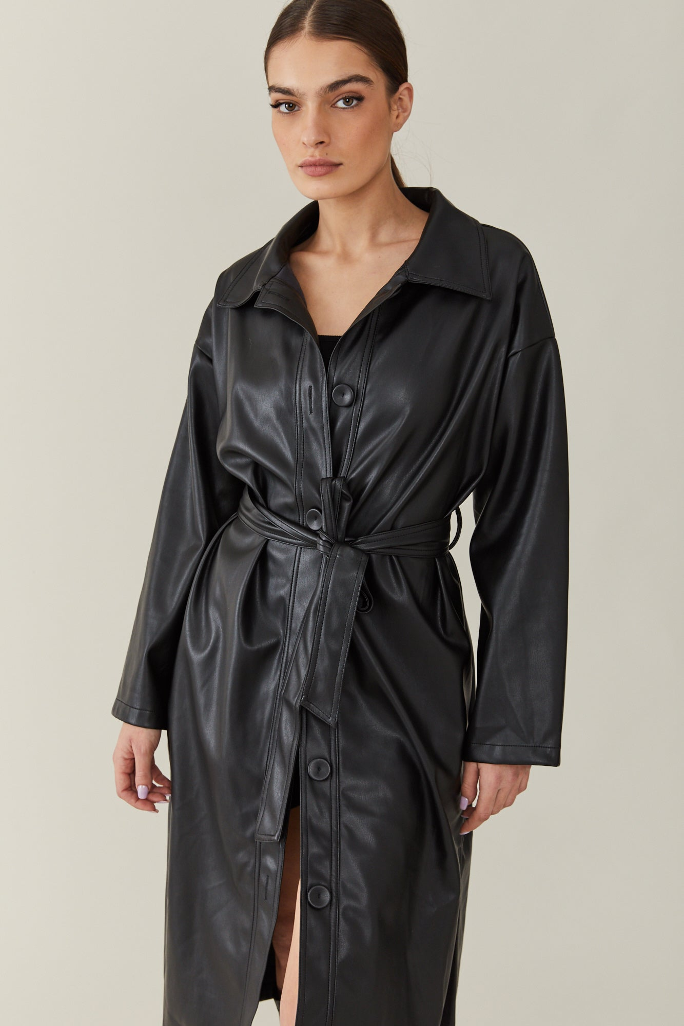 Bar Leather Trench Coat
