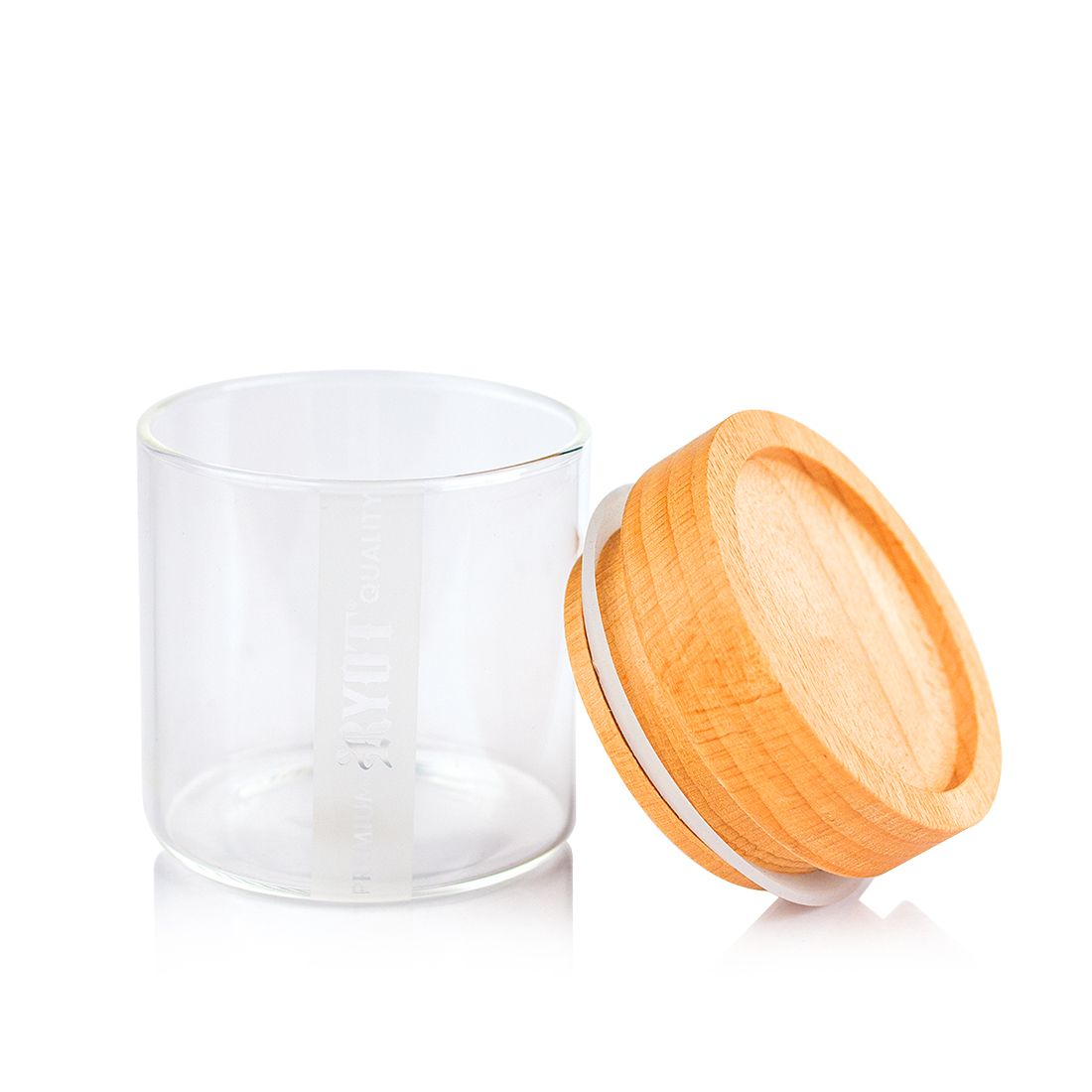 RYOT - Clear Glass Jar with Beech Tray Lid