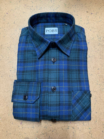 BLUE GREEN PLAID SHOP SHIRT