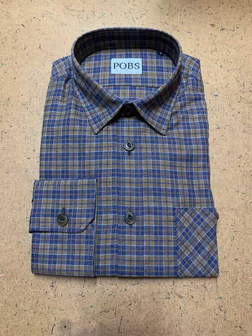 BLUE TAN PLAID SHOP SHIRT