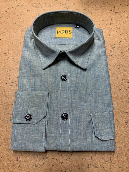 JAPANESE DEAD STOCK CHAMBRAY RUST STRIPE WORK SHIRT