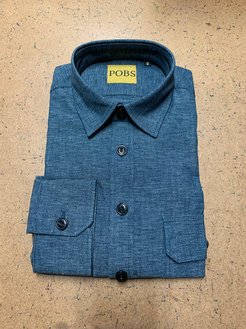 LIGHT DENIM VARIEGATED WORK SHIRT