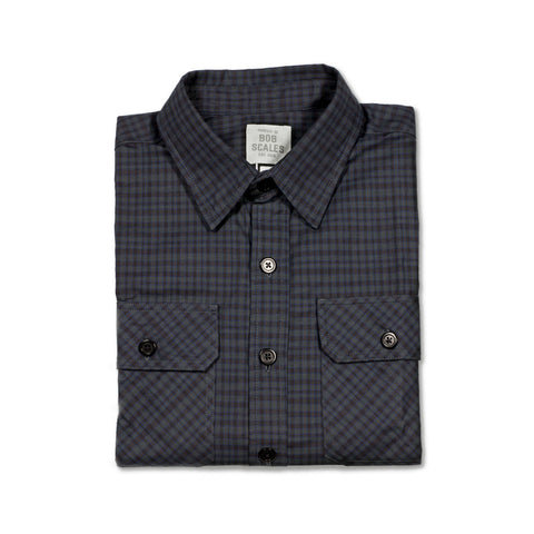 NEW! DARK BLUE / GREY PLAID WORK SHIRT