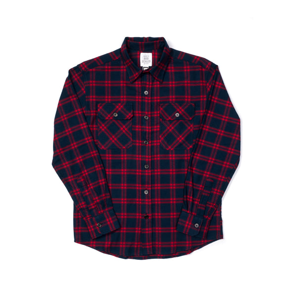 RED & NAVY PLAID WORK SHIRT