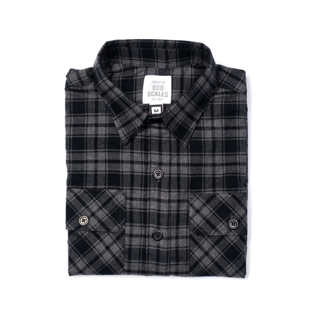 ac6c679be99 GREY & BLACK PLAID WORK SHIRT | Product of Bob Scales
