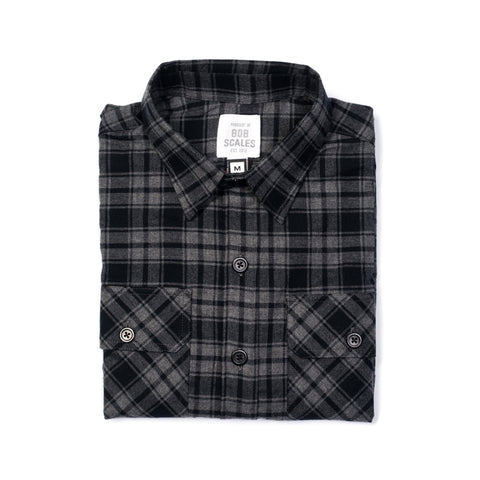 GREY & BLACK PLAID WORK SHIRT