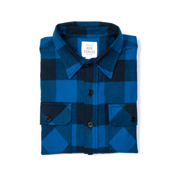 BLUE & NAVY FLANNEL WORK SHIRT