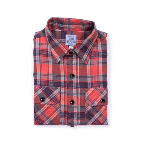 RUST PLAID FLANNEL WORKSHIRT
