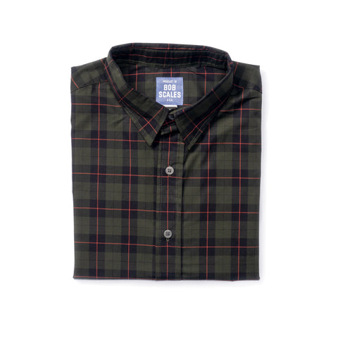 DARK GREEN PLAID SHORT SLEEVE DAILY DRIVER