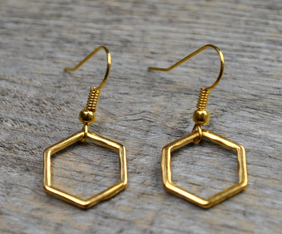 Geometrische Ohrringe Sechseck in gold