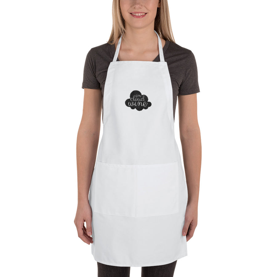 On Cloud Wine White Embroidered Apron