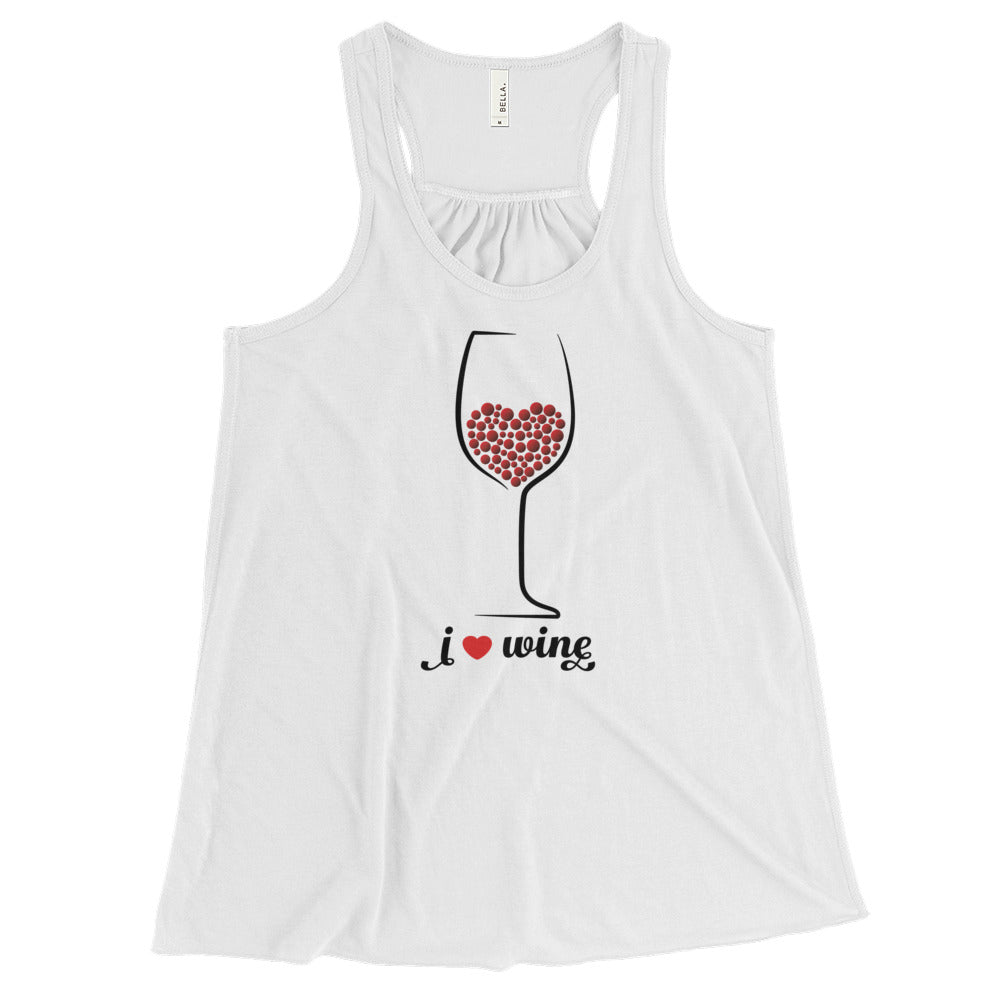 Heart In A Wine Glass Flowy Racerback Tank