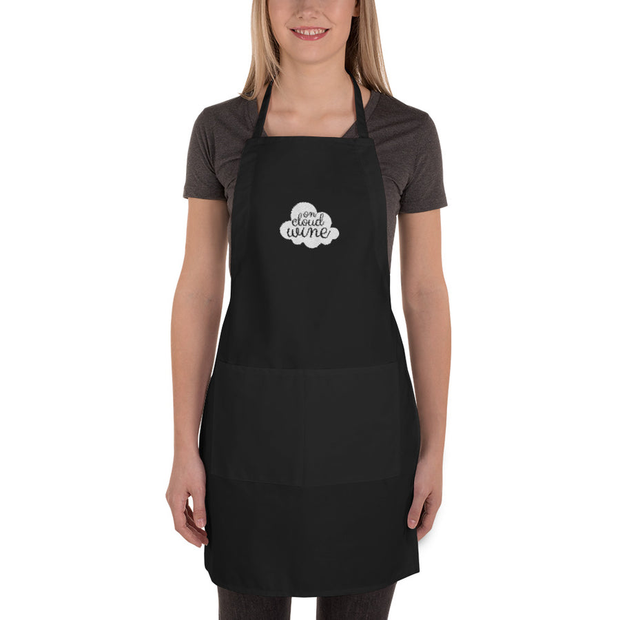 On Cloud Wine Black Embroidered Apron