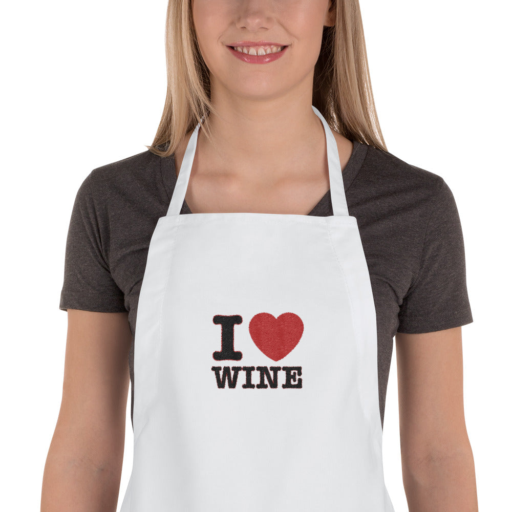 I Love Wine Embroidered Apron