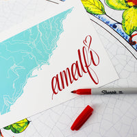 Map of Amalfi, Italy with handwritten title.