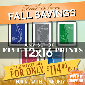 "Fall Sale - Five 12""x16"" Prints for $114 USD"