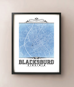 Blacksburg Vintage Blueprint