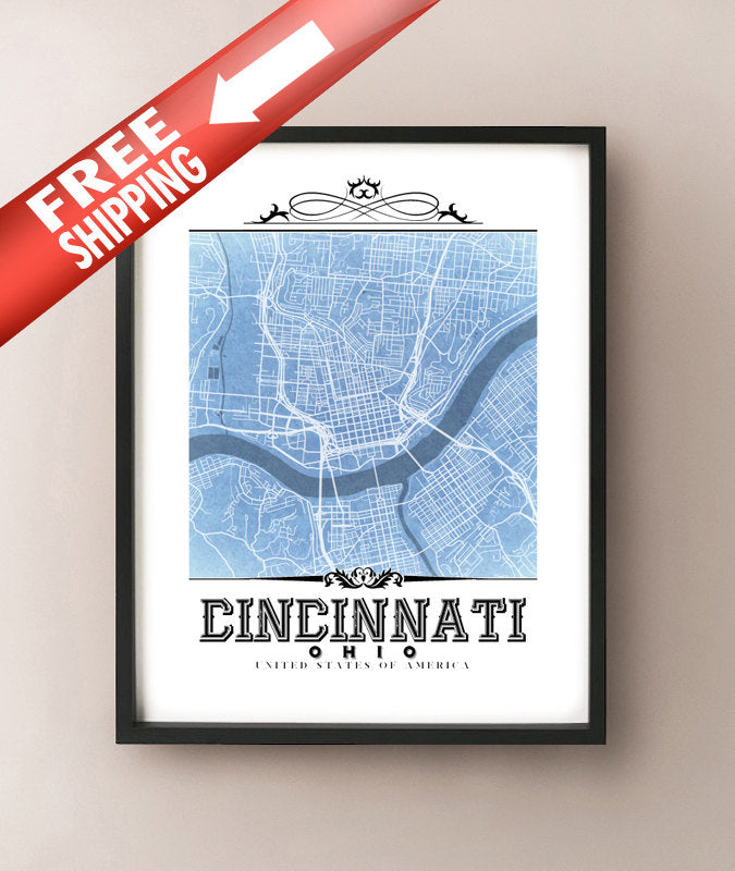 Cincinnati Vintage Blueprint