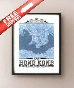 Hong Kong Vintage Blueprint