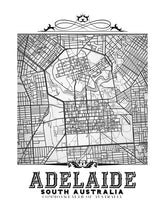 Load image into Gallery viewer, Detailed image of black and white Adelaide, Australia vintage map.