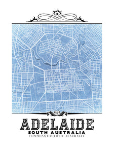 Blueprint Adelaide, Australia vintage map.