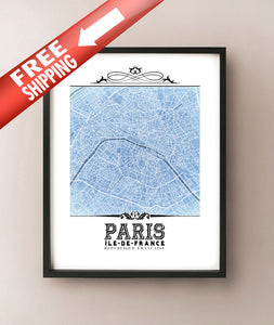 Paris Vintage Blueprint