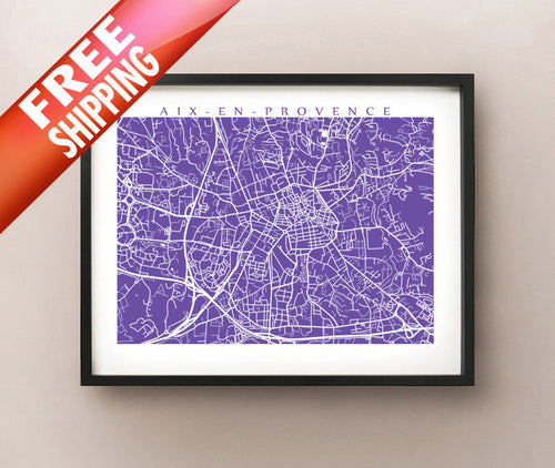 Aix En Provence framed map